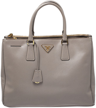 Prada Grey Saffiano Lux Leather Large Galleria Double Zip Tote