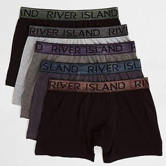River Island Big and Tall black metallic trunks 5 pack