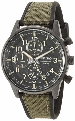 Seiko Men's Chronograph/Essentials Stainless Steel Japanese Quartz With Silicone Strap Green (Model: SSB373)