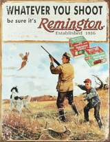 Remington Poster Revolution Whatever You Shoot Rifle Hunting Distressed Retro Vintage Tin Sign - 13x16