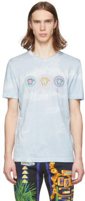 Versace Blue Tie-Dye Medusa Logo T-Shirt