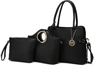 MKF Collection by Mia K. Women's Handbags - Black Abstract Textured Tote & Crossbody Set
