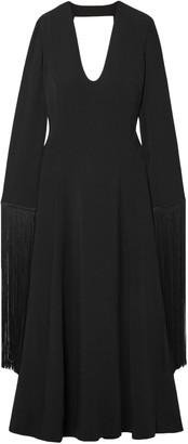 Stella McCartney Cutout Fringed Crepe Maxi Dress
