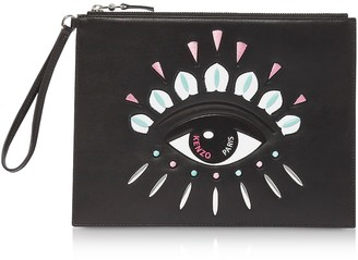 Kenzo Black Leather Kontact Large Clutch