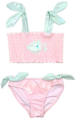 Kate Mack Shimmer Fish Smocked Two-Piece Swimsuit