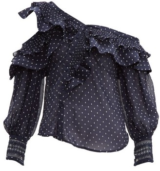 Self-Portrait Ruffled Off-the-shoulder Dobby Blouse - Womens - Navy
