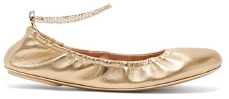 Gianvito Rossi Crystal-embellished Anklet-chain Leather Pumps - Gold