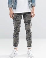Asos Skinny Jeans In Camo