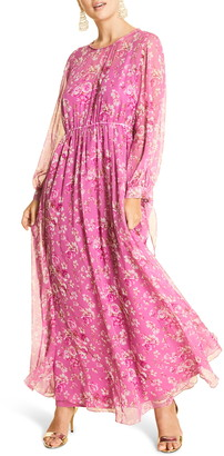 Marina Rinaldi Dolce Floral Long Sleeve Silk Chiffon Maxi Dress