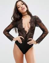 Asos Lucy Microfibre & Delicate Lace Plunge Bodysuit