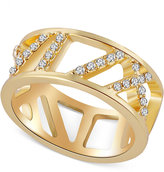 T Tahari Gold-Tone Pavé Crystal Cut-Out Ring