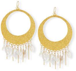 Devon Leigh Baroque Pearl Statement Hoop Earrings
