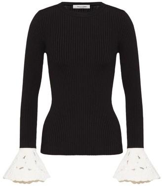 Valentino Jersey Contrast Ruffle Top