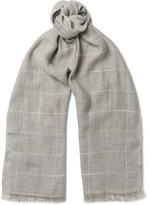 Brunello Cucinelli - Checked Cotton And Linen-blend Scarf