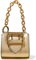 Burberry Metallic Textured-leather Keychain - Gold