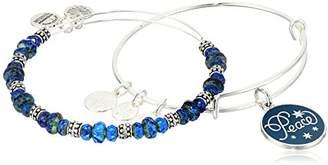 "Alex and Ani Holiday"" Peace Set of 2 Silver Charm Bracelet"