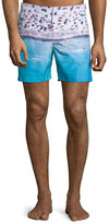 Orelebar Brown Bulldog Beached Print Swim Trunks, Blue Pattern