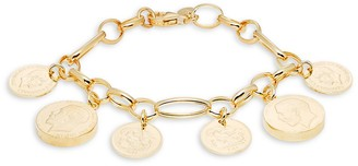 Saks Fifth Avenue Made In Italy Goldplated Sterling Silver Medallion Charm Bracelet
