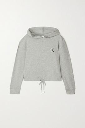 Calvin Klein Underwear Printed Melange Cotton-blend Jersey Hoodie - Gray