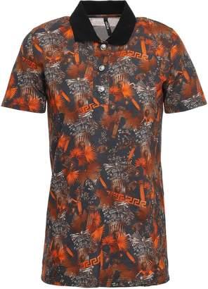 Versace Printed Pique Polo Shirt