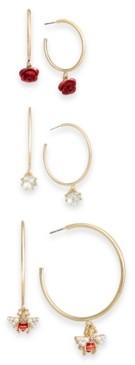 Thalia Sodi Two-Tone 3-Pc. Set Crystal, Imitation Pearl, Bee & Rosette Charm Hoop Earrings, Created for Macy's