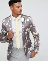 Asos Wedding Super Skinny Blazer In Gray Floral Print
