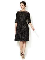 Carolina Herrera Metallic Checkered Tweed Dress