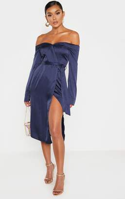 PrettyLittleThing Burgandy Satin Bardot Lapel Detail Wrap Midi Dress