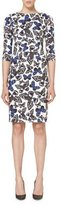 Carolina Herrera Butterfly-Print Half-Sleeve Dress, Black/White
