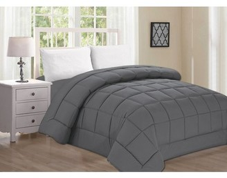 Elegant Comfort Celine Linen Luxury Ultra Plush Down Alternative Double-Filled Comforter %100 HypoAllergenic, Full/Queen , Gray