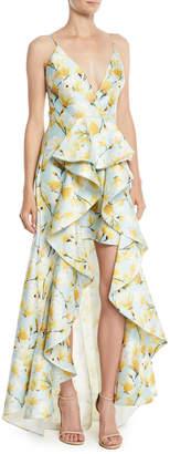 Badgley Mischka Floral-Print Mikado Ruffle High-Low Gown
