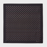 Paul Smith Men's Black Signature Stripe Polka Dot Silk Pocket Square