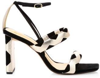 Alexandre Birman Pamella Metallic Leather & Suede Sandals