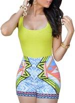 Ninimour Women's Sleeveless Paisley Print Boho Beach Shorts Rompers Jumpsuit
