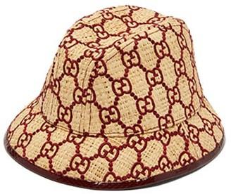 Gucci Snakeskin-trimmed Gg-embroidered Raffia Fedora - Burgundy