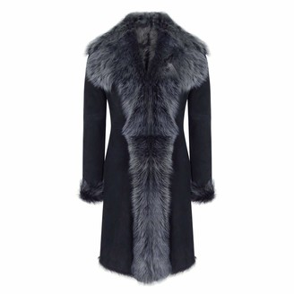 Infinity Black Grey 3/4 Length Ladies Suede Real Toscana Sheepskin Coat Tailored Fit - Black S - 10