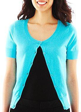 JCPenney Worthington® Crewneck Cardigan Sweater - Petite