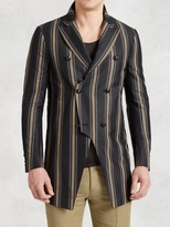 John Varvatos Double Breasted 3/4 Length Coat In Bold Stripes