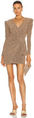 PatBO Lurex Faux Wrap Mini Dress in Gold | FWRD