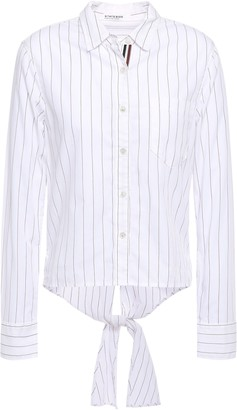 Stateside Cutout Knotted Pinstriped Cotton-mousseline Shirt