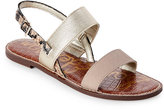 Sam Edelman Putty & Gold Georgiana Flat Slingback Sandals