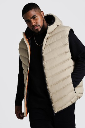 boohoo Mens Beige Big & Tall Quilted Zip Through Gilet With Hood, Beige