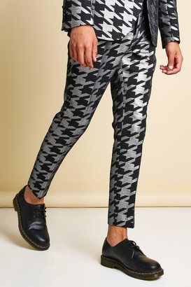 boohoo Mens Grey Skinny Metallic Dogtooth Jacquard Suit Trouser, Grey