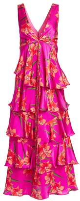 Borgo de Nor Flavia Floral V-Neck Tiered Empire-Waist Silk Gown
