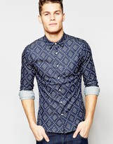 Asos Skinny Denim Shirt With Diamond Print In Long Sleeve
