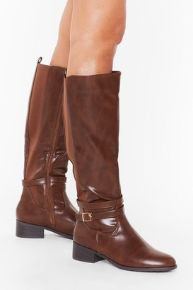 Nasty Gal Womens Just Ride It Out Faux Leather Knee-High Boots - Brown
