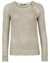 Golddigga Womens Zip Shoulder Knit Jumper Sweater Pullover Long Sleeve Crew Neck