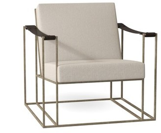"Bernhardt Dekker 31"" W Top Grain Leather Armchair Body Fabric: Cream 164-000"
