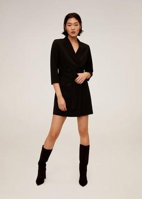 MANGO Belt wrap dress black - 4 - Women