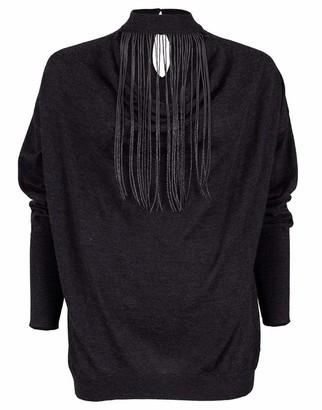 Brunello Cucinelli Anthracite Long Sleeve Monili Fringe Knit